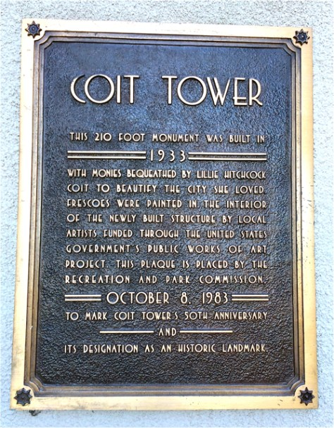 Plack at Coit Tower, San Francisco, Photo Romi Cortier