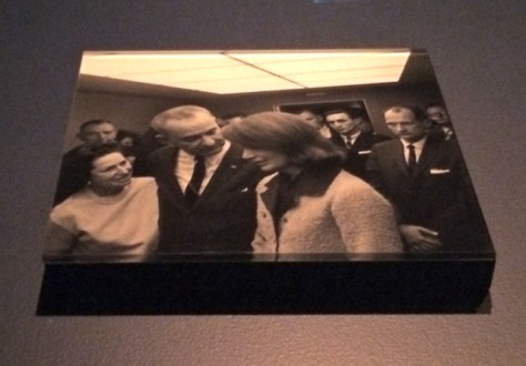 Lady Bird Johnson, Lyndon Johnson and Jacqueline Kennedy aboard Air Force One.