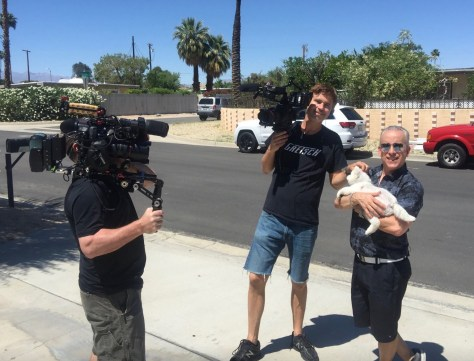 Cameramen Willy Lazlo and Jacob Kelso, Romi Cortier, and Coco, Palm Springs, Ca., Photo Recio Carrington Young