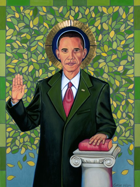 Obama and the Tree of Knowledge, Oil on Canvas, Artist Romi Cortier