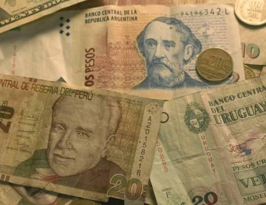 Peruvian soles, Argentine pesos, Uruguayan pesos, and American dollars