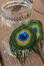 Crochet Peacock Feather Earrings