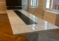 Marble table on mirror base 2