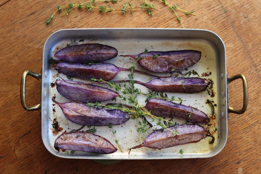 Roasted Purple Daikon Radishes With Thyme