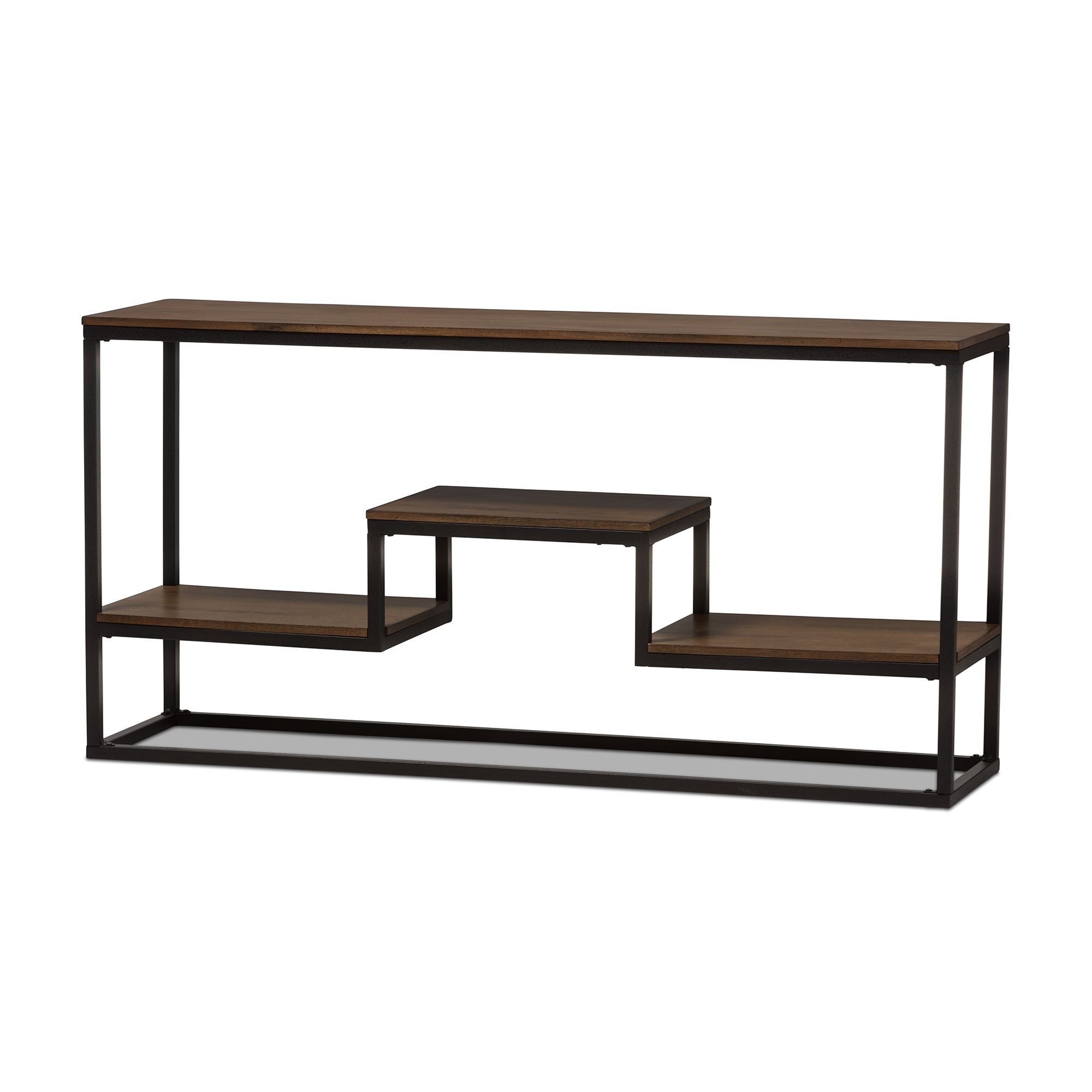 Old Baxton Studio Doreen Rustic Industrial Style Black Texturedfinished Metal Distressed Wood Console Table Wholesale Console Table Wholesale Living Room Furniture houzz-02 Metal Console Table