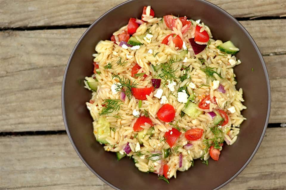 Greek Orzo Salad with Dill - Wholesomelicious