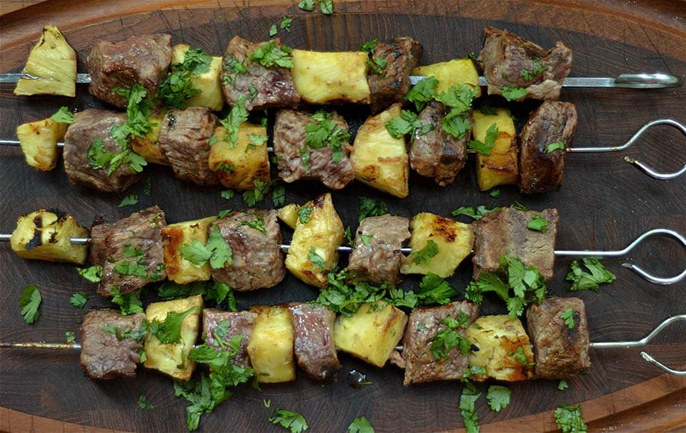 Grilled Thai Beef and Pineapple Kabobs are marinated in a coconut lime ...