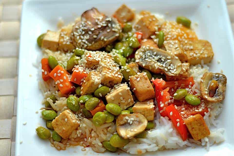 Skillet browned tofu and veggies cooked in a sweet and sour sauce make ...
