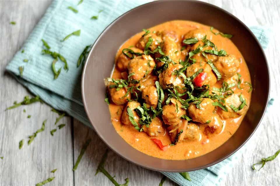 Thai Coconut Red Curry Turkey Meatballs