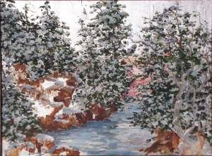 Maine Winter Oil Painting