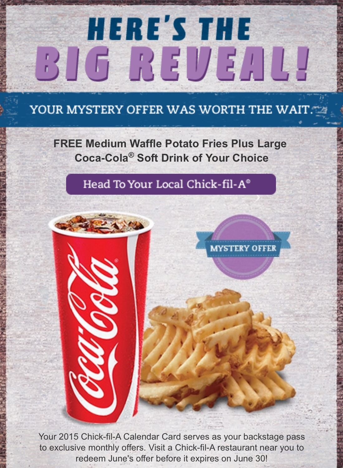 Gallant Mystery Calendar Offer Free Large Coke At Who Said K Fil A Waffle Fries Catering K Fil A Waffle Fries Price June Is Free Waffle Fries Free Largecoke Free Waffle Fries nice food Chick Fil A Waffle Fries