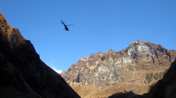 Helicopters in the mountains