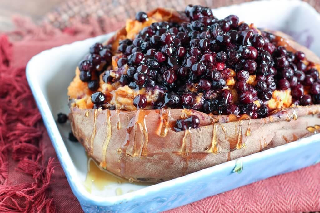Easy Fall Dinner: Wild Blueberry Twice Baked Sweet Potato