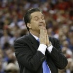 Kentucky head coach John Calipari reacts during the first half of an NCAA Final Four semifinal college basketball tournament game against Louisville Saturday, March 31, 2012, in New Orleans. (AP Photo/David J. Phillip)