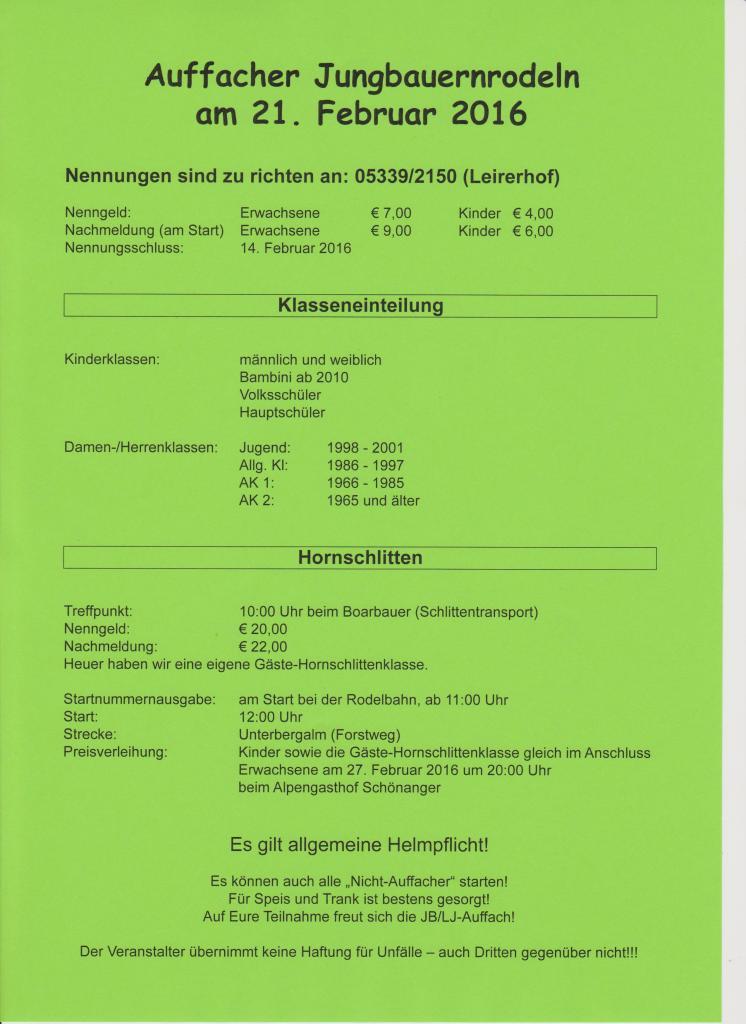 Postwurf Jungbauernrodeln 2016