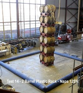 Barrels stacked 6 high on plastic racks after 125% of Napa quake energy