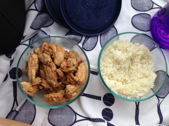 Eat to Perform post-workout meal of 2oz chicken 1/4 cup rice