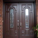 Brown double front doors