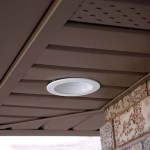 White Soffit lighting in brown aluminum soffit