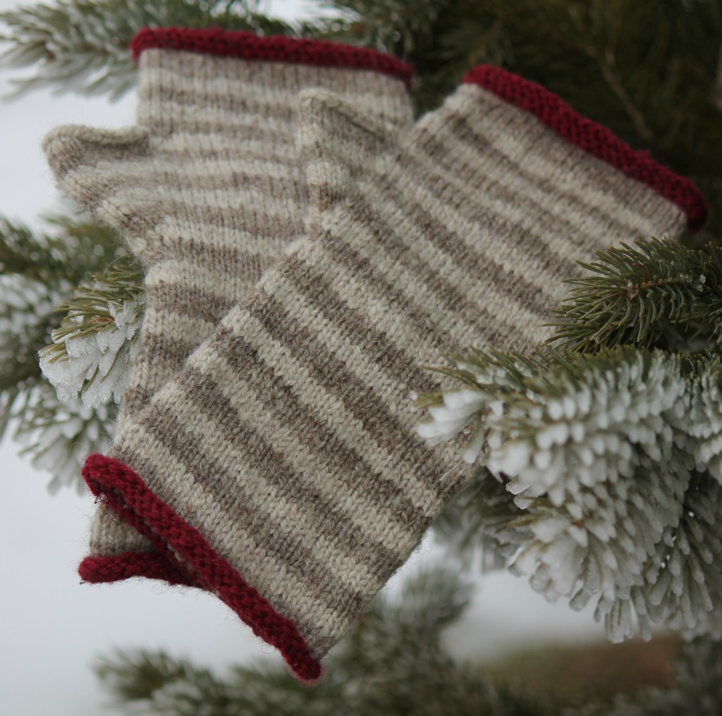 hand knit fingerless mittens