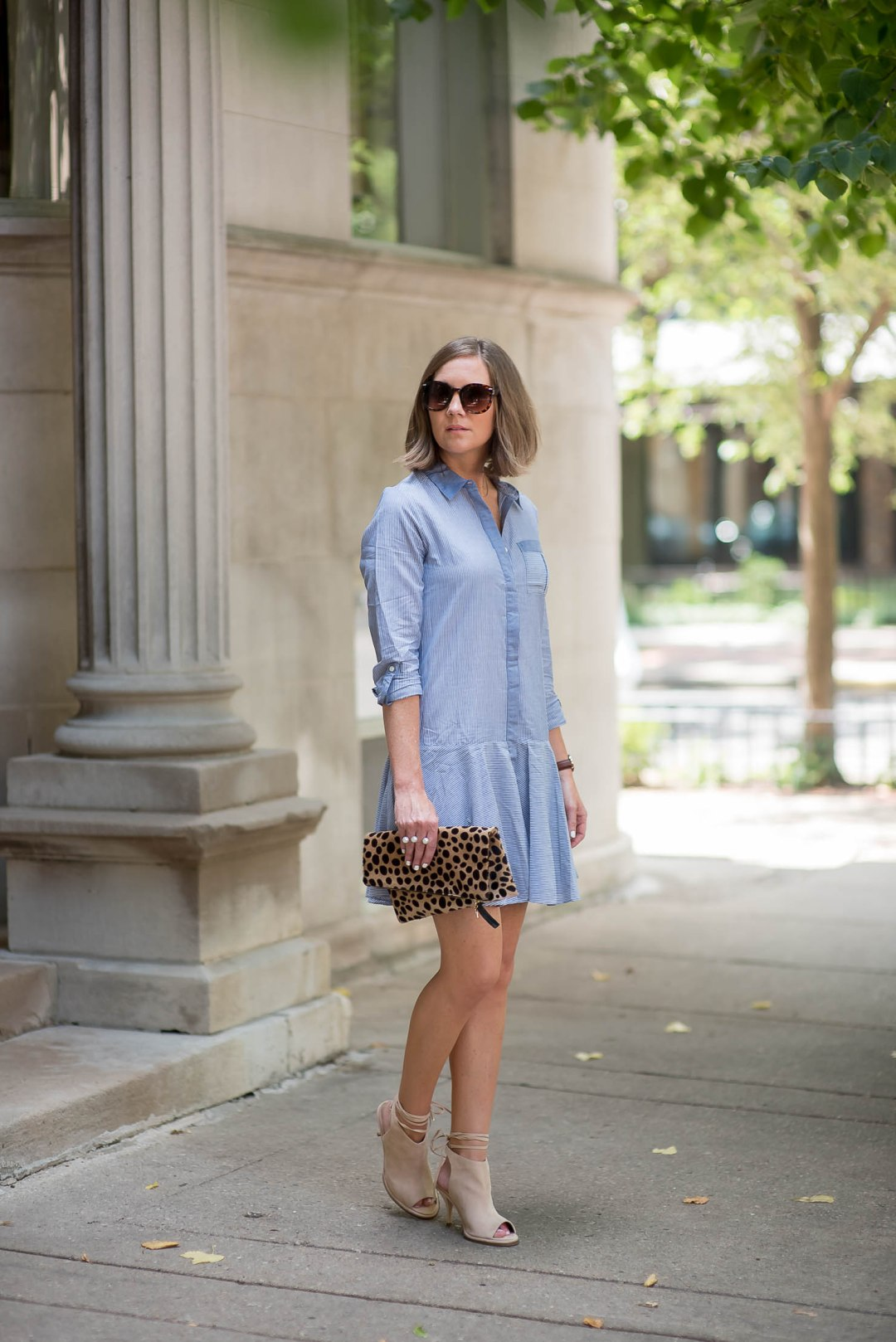 sam-edelman-drop-waist-shirt-dress-asos-nude-peep-toe-booties-with-ankle-ties-clare-v-leopard-clutch-fall-fashion