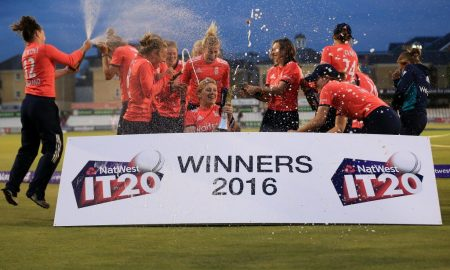 CHELMSFORD, ENGLAND - JULY 7: England players celebrate with the trophy after the Natwest Women's International T20 match between England Women and Pakistan Women at the Essex County Ground on July 7, 2016 in Chelmsford, England. (Photo by Stephen Pond/Getty Images)