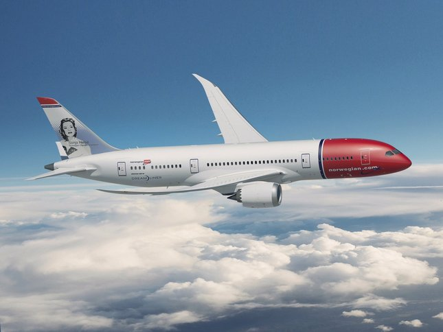 Norwegian Air's Dreamliner features depictions of notable Scandinavians. This one shows Olympic figure skater and film star Sonja Henie.    Staff Caption    Photo courtesy of Norwegian Air    Photo courtesy of Norwegian Air    yes    yes