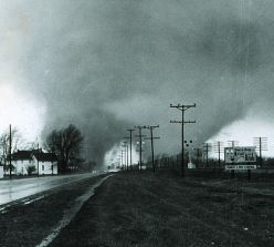 """This photo from the NOAA archives shows the """"double tornado"""" destroying the Midway Trailer Park, on U.S. Route 33, in Dunlap, Ind. on Palm Sunday of 1965."""