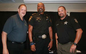 North Judson Police Chief Doug Vessely, Sheriff Clark and NJ Police K-9 Officer Scott Bieshuizen