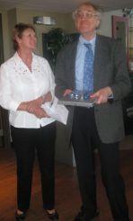 Judy Bates, WLUFA President, and retiree Andrew Lyons