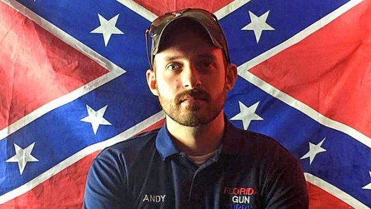 "Andy Hallinan of Florida Gun Supply in Inverness, Florida, on his YouTube video declaring his store to be a ""Muslim-free zone."""