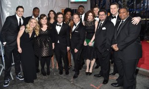 SATURDAY NIGHT LIVE 40TH ANNIVERSARY SPECIAL -- Pictured: (l-r) Pete Davidson, Kate McKinnon, Jay Pharoah, Aidy Bryant, Cecily Strong, Kyle Mooney, Sasheer Zamata, Beck Bennett, Michael Che, Vanessa Bayer, Colin Jost, Bobby Moynihan, Taran Killam, Kenan Thompson walk the red carpet at the SNL 40th Anniversary Special at 30 Rockefeller Plaza in New York, NY on February 15, 2015 -- (Photo by: Mike Coppola/NBC)