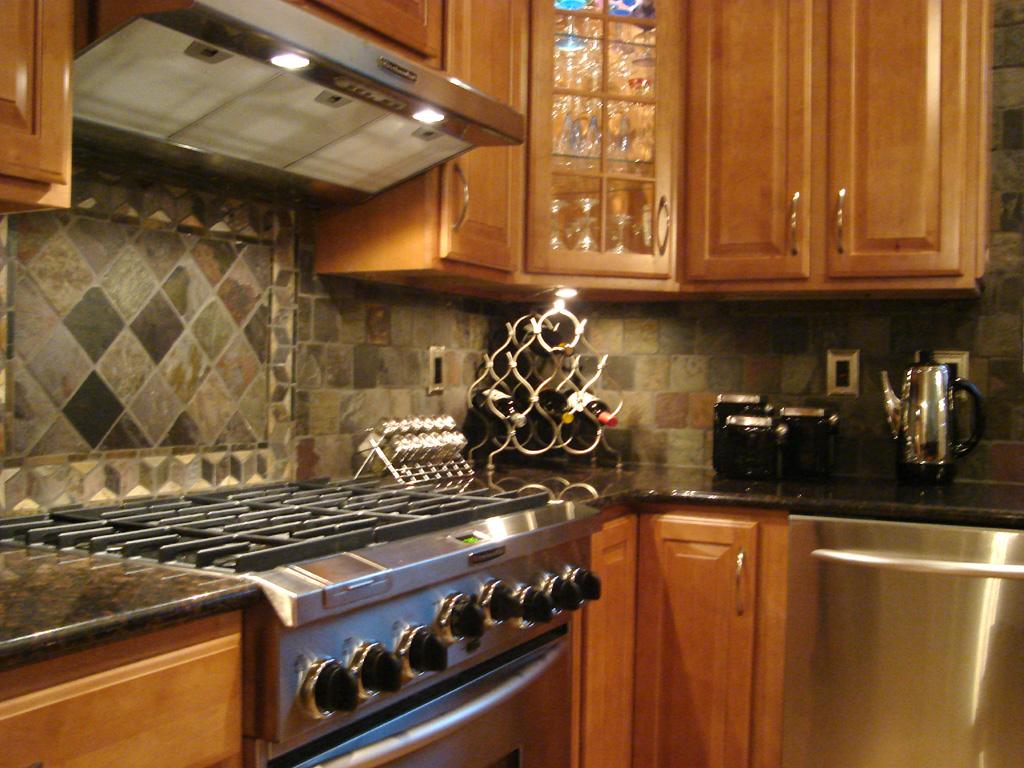 kitchen tile backsplash kitchen tile Custom Cut Slate Mosaic Tile st louis kitchen tile Backsplash 4