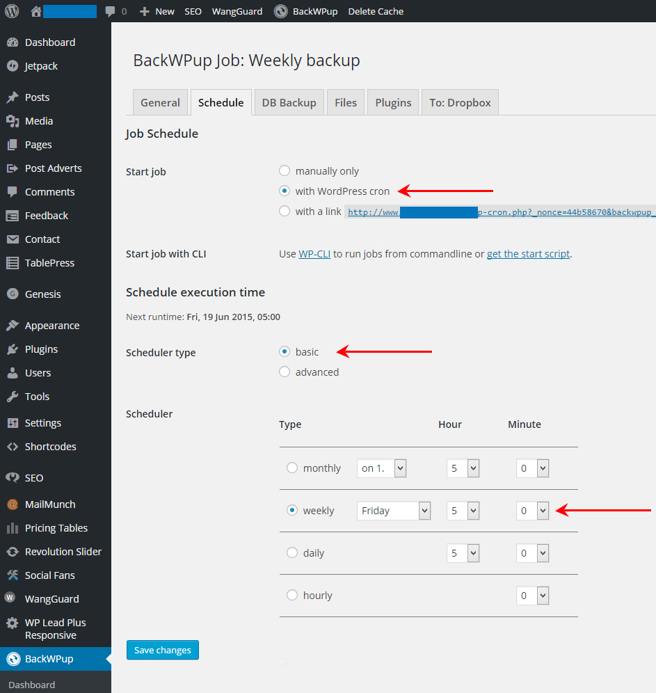 How To Backup Your WordPress Site Using BackWPup - Schedule tab