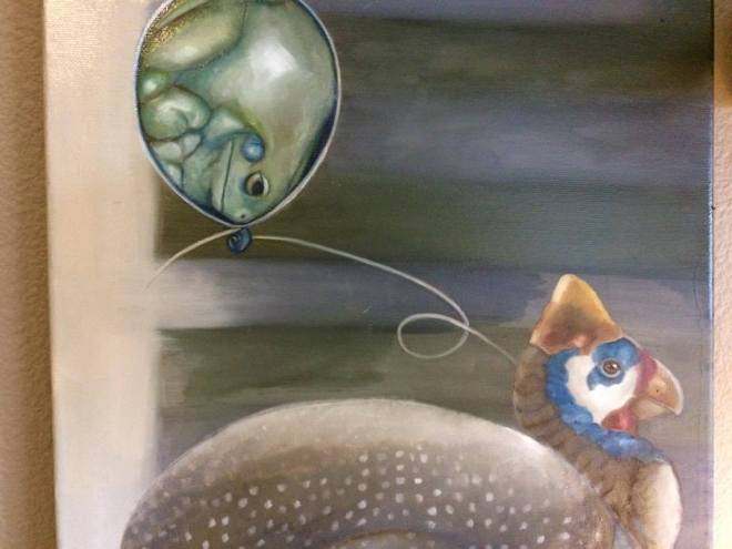 "Work in progress: ""Tethered,"" an oil painting featuring a frog balloon and a guinea fowl"