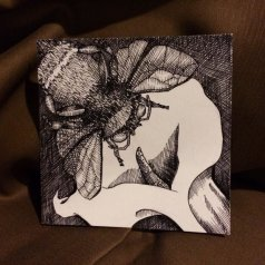 "ENJOIN | 2015 | 4"" x 4"", pen and ink on paper art tile"