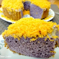Ube Chiffon Cake with Shredded Cheddar Cheese