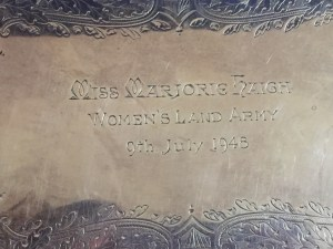 Engraved tray presented to Marjorie Haigh for her work as organising secretary.