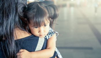 sad woman with daughter