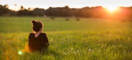 woman in a green meadow