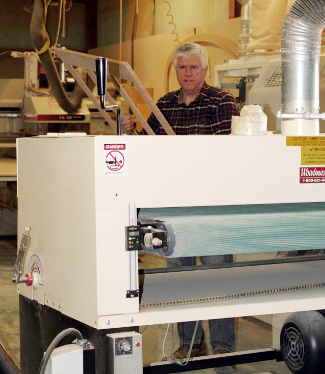 """Dante puts his 50"""" Woodmaster Drum Sander through it's paces. He's making a good living as a cabinetmaker in today's tough economy. Woodmaster helps by slashing his operating costs."""