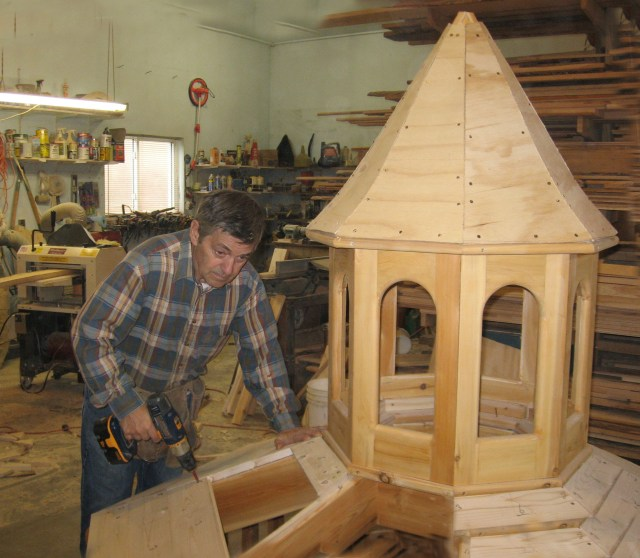 For his next project, Ferdinand is building a handsome gazebo.