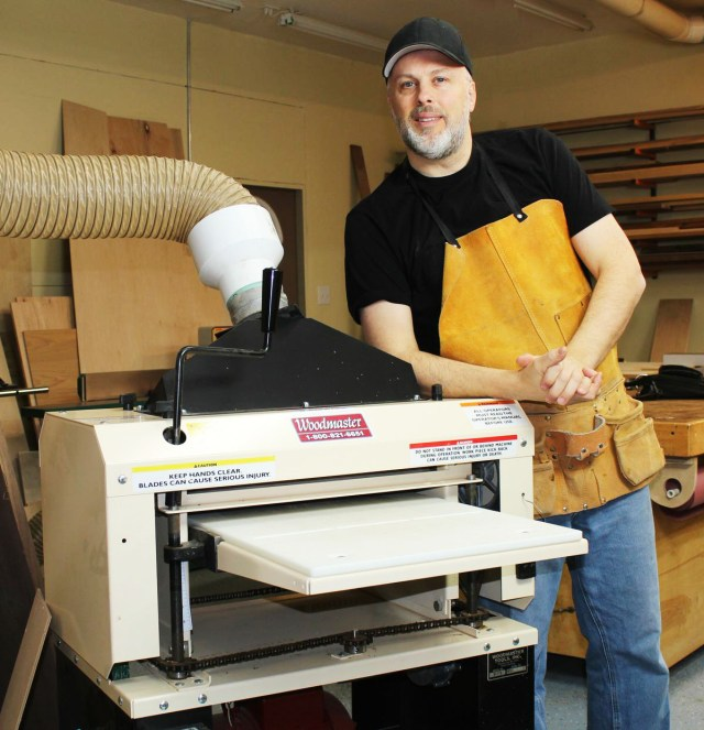 "Here's Paul in his shop with his 18"" Woodmaster Molder/Planer. He's a man on a mission to make great furniture!"