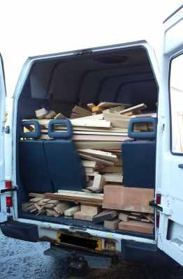 Hawarden High School minibus full of timber