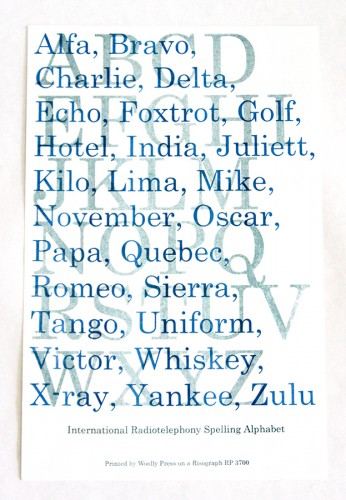 NATO alphabet Artist Print By Woolly Press
