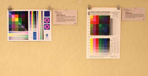 Risomat, Print Guide (left) Paper Pusher, Overprint Chart (right)