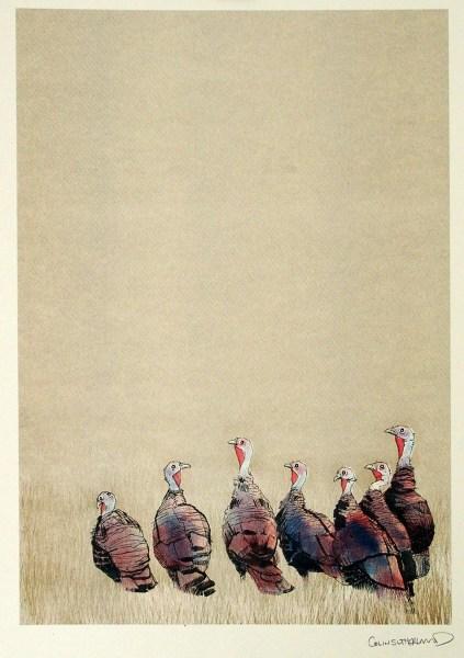 Riso print of turkeys