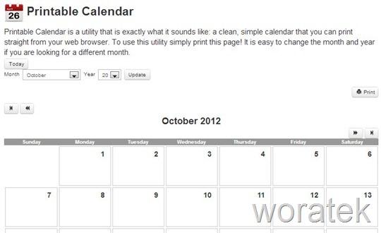 30-10-2012 Printable Calendar