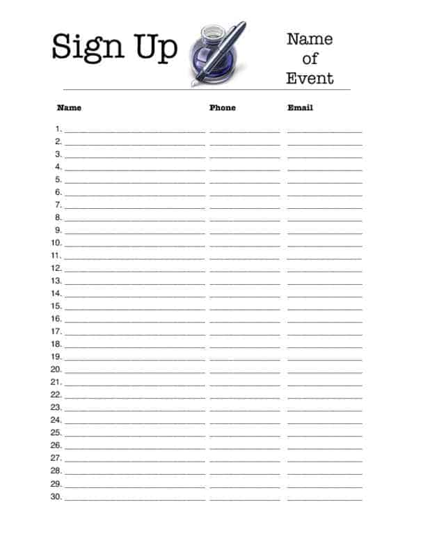 Work Sign In Sheet Template Printable Pictures to Pin – Blank Sign in Sheet