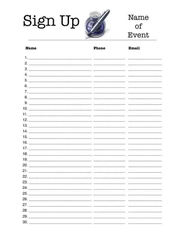 Mailing List Sign Up Sheet. Blank Sign Up Sheet Template .  Free Printable Sign In Sheet Template